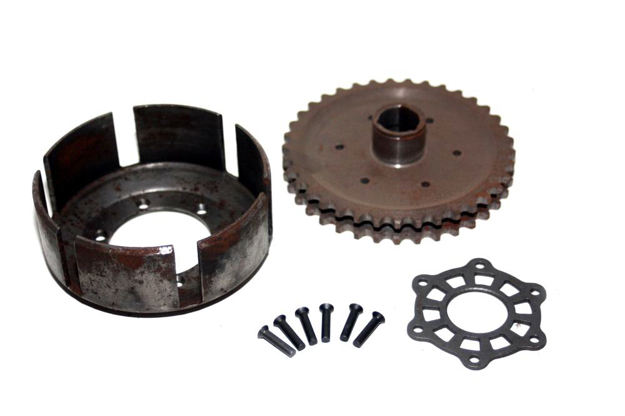 Bild von Kupplungstrommel + Kettenrad TS125 TS150 ETZ125 ETZ150 - Bausatz